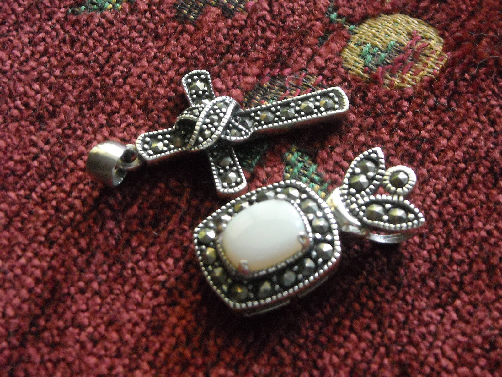Sterling Silver Cross & Crown Opal & Marcasites Two Pendants 925 Chain Necklace image 2