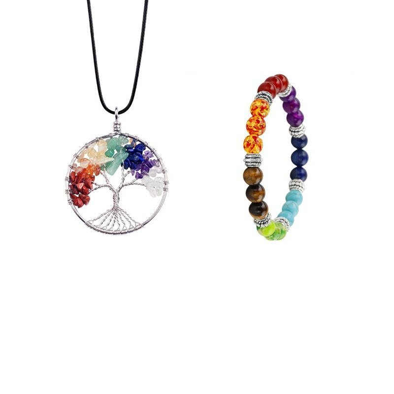Primary image for 7 Chakra Stones Natural Stone Tree Of Life Pendant Necklace  Pendants Yoga Brace