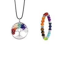 7 Chakra Stones Natural Stone Tree Of Life Pendant Necklace  Pendants Yo... - $18.99