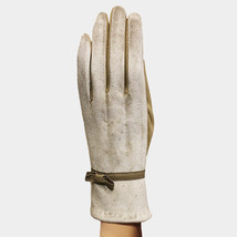 Beige Thermal Bow Deco Smart Touch Gloves 360313 - $393,61 MXN