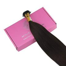 Full Shine Brown I Tip Real Hair Extensions 22 Inch Remy Human Hair Fusion Exten image 4