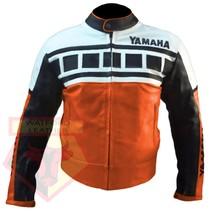 YAMAHA 6728 ORANGE MOTORBIKE MOTORCYCLE ARMOURED COWHIDE LEATHER JACKET - $194.99