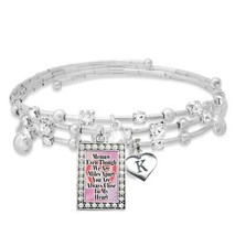 Custom Memaw Even Though We are Miles Apart Silver Bracelet with Initial Charm - $16.73