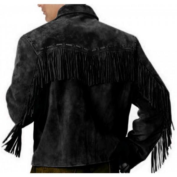 Mens Simple Style Western Suede Jacket Black Fringe Jacket Coat, men Jackets