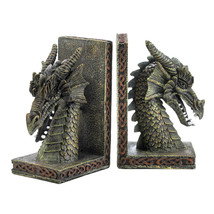 Dragon Bookends, Decorative Adjustable Bookends, Office Rustic Dragon Bo... - £19.65 GBP