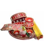 Karwa Chauth Pooja Thali Set-Thali/Channi/Kalash/Sindoor/Mehandi/Moli/Bi... - $50.99