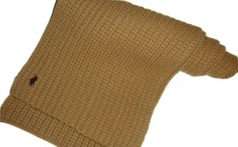 Polo Ralph Lauren 100% Wool Sweater Knit Tan Khaki Warm Cozy Unisex Scarf - $34.62