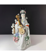 GEISHA PORCELAIN STATUE Asian sculpture figurine antique Japan gold mand... - $391.05