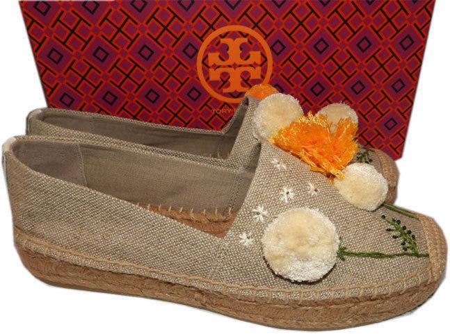 Tory Burch Natural Linen Lily Pompom Platform Espadrilles Flats Shoes 8