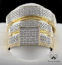 Round cut Diamond 1/3ct Trio 14K Gold Finish 925 engagement band bride groom set - $161.99