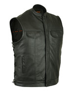 Motorcycle Vest Naked Cowhide Hidden Zipper Men Leather Rider Vest Bike ... - $149.95+