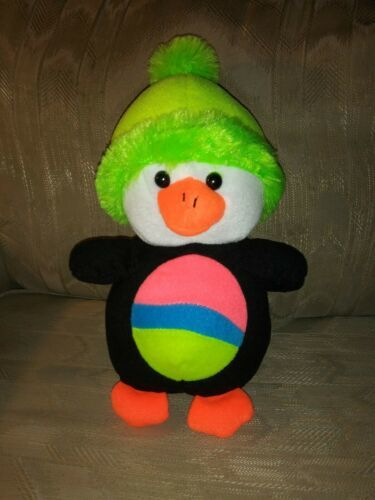 "Primary image for Toy Factory Waddles Penguin Plush 12"" Neon Green Hat Striped Belly 2014 Ages 3+"