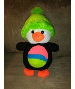 """Toy Factory Waddles Penguin Plush 12"""" Neon Green Hat Striped Belly 2014 ... - $29.69"""