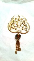 Renaissance Style Pin Gold tone Vintage Knight lioms Chain Tassel - $17.99