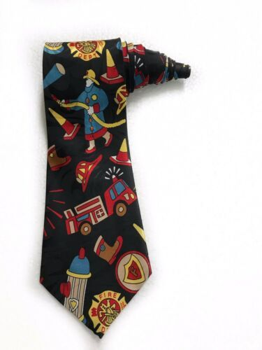 Fratello Firefighter Fire Truck Hydrant Vintage Novelty Tie Necktie Mens  image 1
