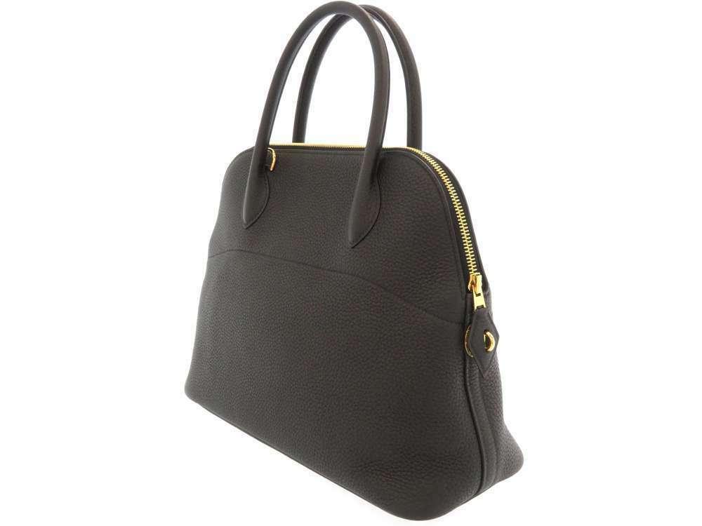 HERMES Bolide 31 Taurillon Clemence Noir 2Way Handbag Shoulder Bag #C Authentic