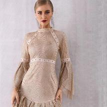 Women's Brand Designer Style Flare Sleeve Sequined Mini Club Dress image 4
