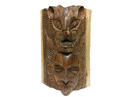 Hand Carved Solid Wood Lion & Native Man Face Statue Sculpture - $160.00