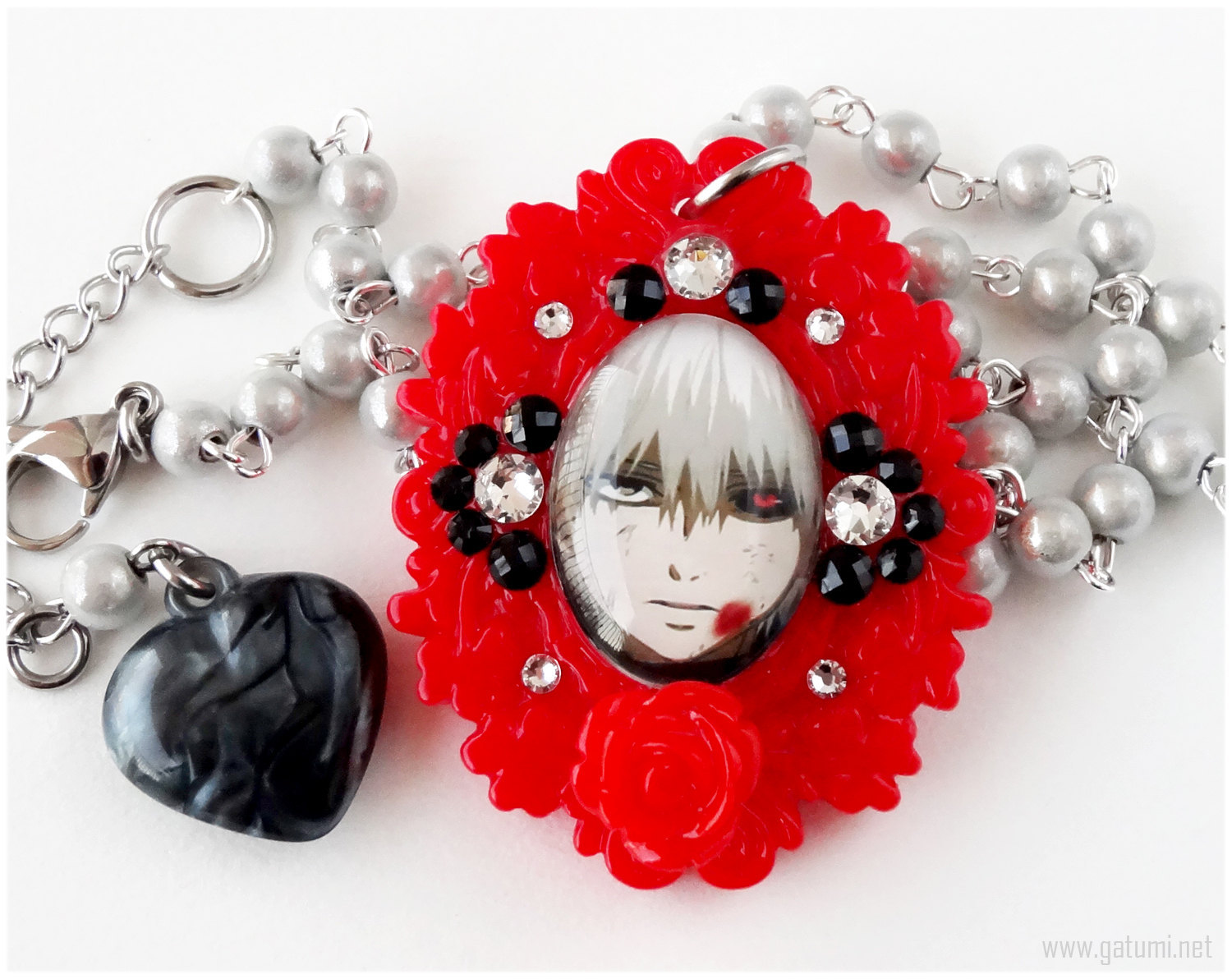 Primary image for Gothic Cameo Rosary Necklace, Red, White, Decoden, Swarovski Cystals