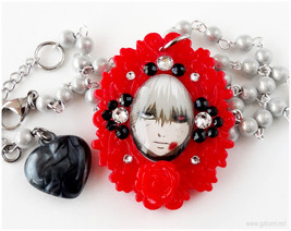 Gothic Cameo Rosary Necklace, Red, White, Decoden, Swarovski Cystals - $28.00
