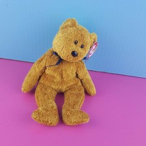 TY Beanie Baby Fuzz the Teddy Bear 1999 Tags with Cover Navy Bow - $7.92