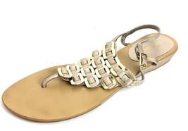 8.5 Nine West Aristotle Pale Gold Leather Slight Wedge Buckle Closure Sa... - $25.74