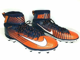 Nike Lunarbeast Elite Football Cleats Size 11 Blue Orange 847588-806 Ski... - $47.50