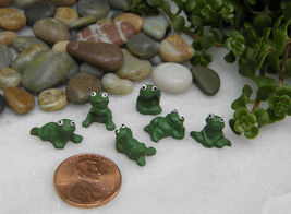 Miniature Dollhouse FAIRY GARDEN Accessories ~ Set of 6 TINY Pond Frogs ... - $16.29