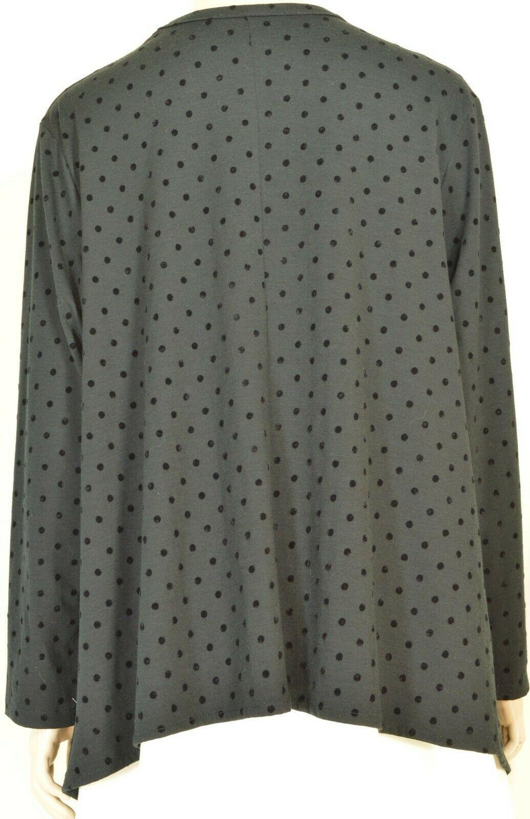 Alembika top jacket 4 L XL black tonal polka dots asymmetrical full long sleeve