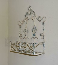 Antique Chippy Paint Fleur de Lis Metal Window Box Flower Planter - $84.15