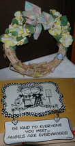 "2 pc/ Handcrafted 11"" Wicker/Grape Vine Wreath w/Flowers + Metal ""Angles... - $2.66"