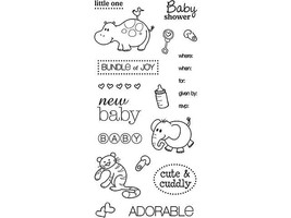 Fiskars-New Baby Rubber Cling Stamp Set, Includes 21 Stamps #136600-1001