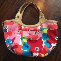 COLE HAAN MEGAN Black / Floral Nylon & Leather REVERSIBLE Bucket Tote Ha... - $28.58