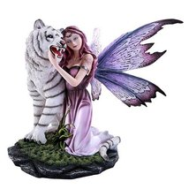 Large Gentle Fairy with Beautiful Wings Embracing White Tiger Collectibl... - $93.00