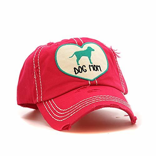 scarlettsbags Distressed Dog Mom Cap Baseball Hat (Pink)