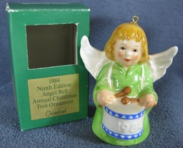 Goebel Annual Angel Bell Ornament 1984 Drum Green Boxed West Germany Vin... - $17.97