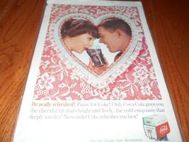 1960 Vintage Print Ad Coca-Coca COKE Heart Man Woman Sharing Drink Love ... - $7.69