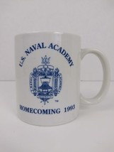 US Naval Academy Homecoming 1993 Blue & White Coffee Mug w/ Logo  - $9.49