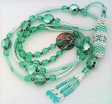 Light Blue Beaded Aroma Vial Necklace 2 - $27.23