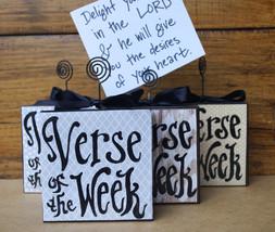 Set of Four Verse Of The Week Card Holders - variety neutral print - bun... - $60.00