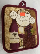 "Set of 2 Printed JUMBO Pot Holders, 7""x8"" WINE BOTTLE, GLASS & GRAPES, p... - $7.91"