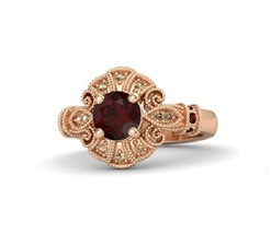 Round red garnet 14k rose gold ring with red garnet and smoky quartz thumb200