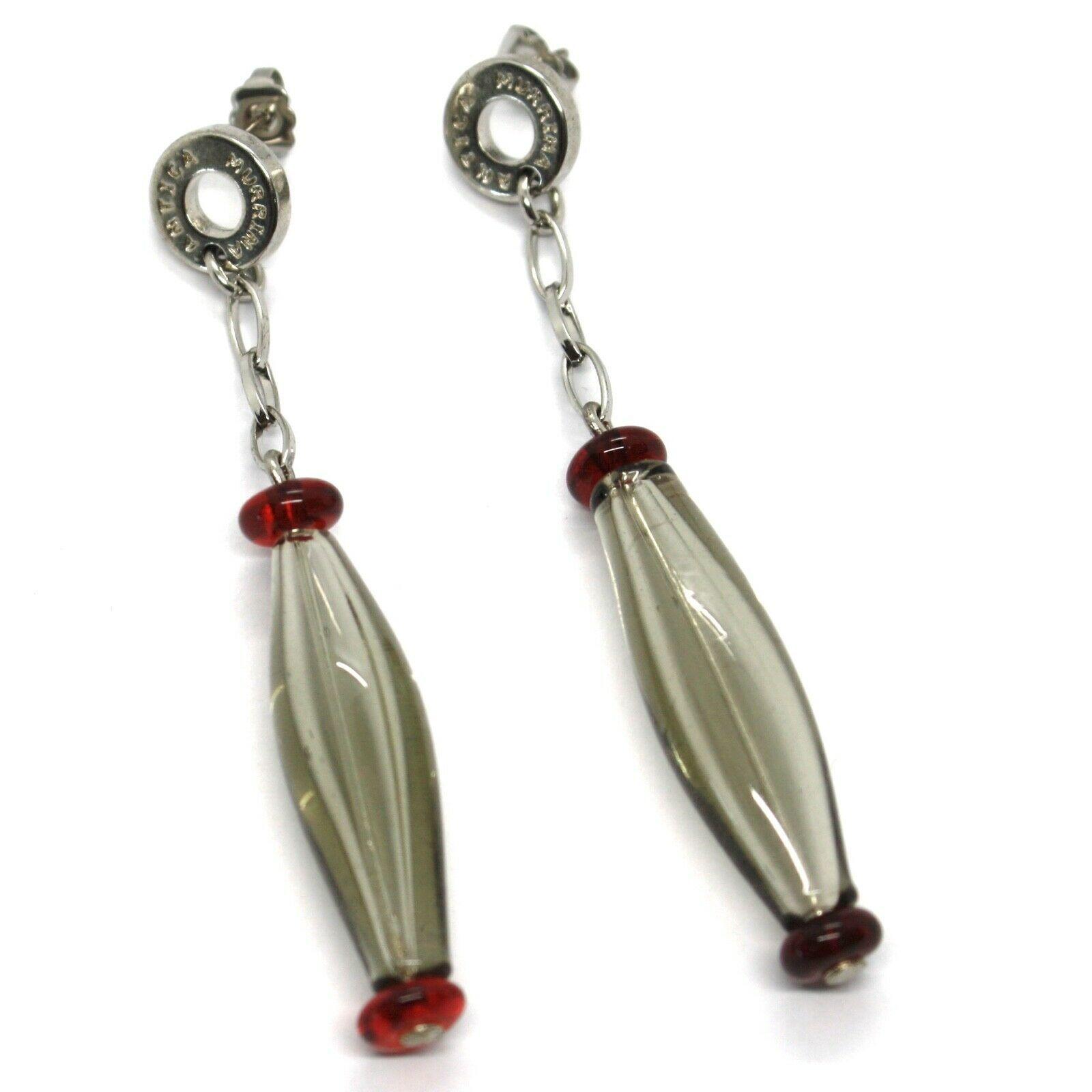 Earrings Antica Murrina Venezia, Hanging, Ovals Elongated, Gray Red