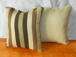Pair of Brown Tan Stripe Print Throw Pillows  10 x 10 - $29.95
