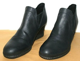 """❤️EARTH Catamount Black Leather 2.5"""" Wedge Ankle Boot 8.5 M EXCELLENT! L@@K!p - $34.20"""