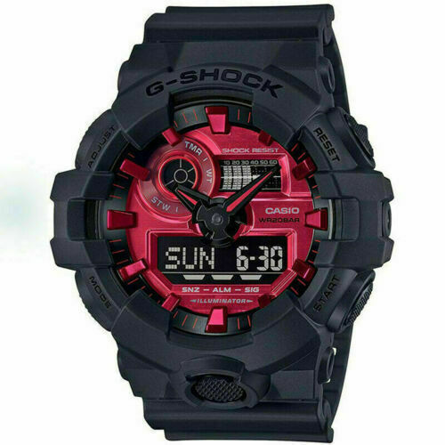 NEW CASIO G-SHOCK GA700AR-1A BLACK/RED ANA-DIGI MEN'S RESIN WATCH