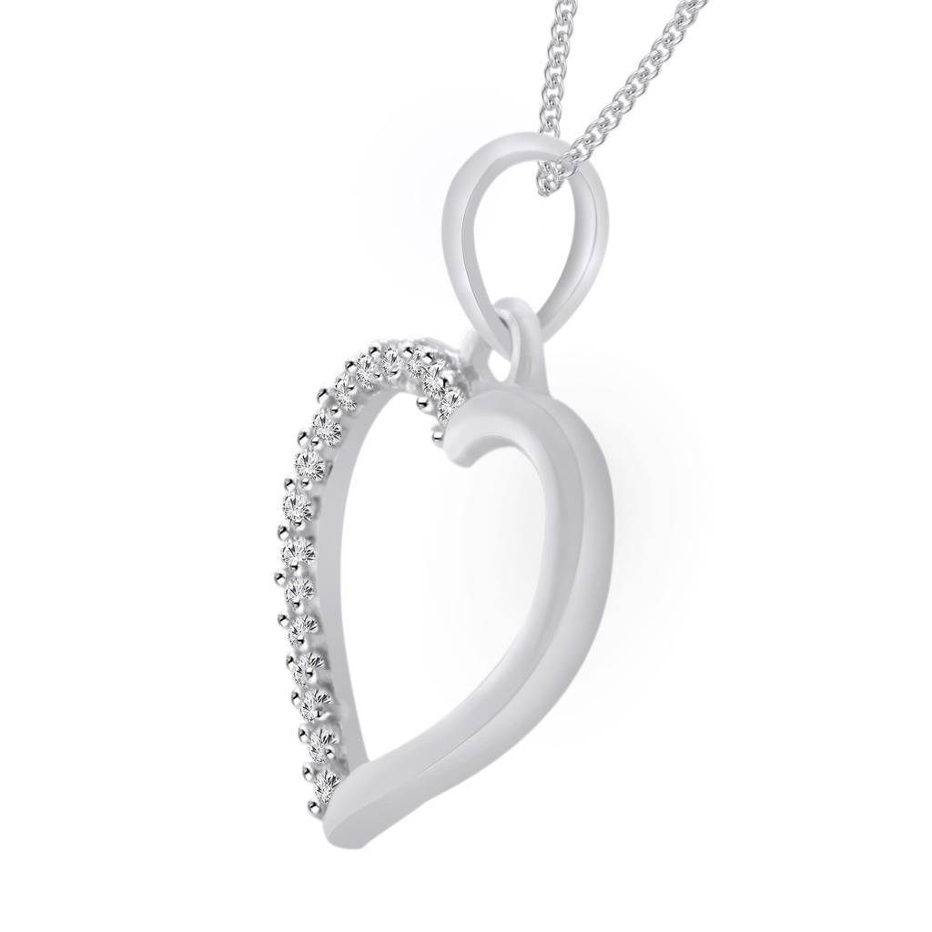 "14k White Gold Over 0.19 Ct Round Cut Diamond Heart Pendant With 18"" Chain"