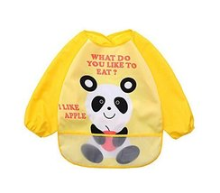 Cute Cartoon Waterproof Sleeved Bib Baby Smock Baby Bibs Panda, 0-3 Years