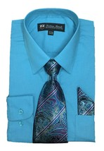 Fortino Landi Men's Long Sleeve Dress Shirt With Tie And Handkerchief Sz L 36/37