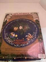 Bucilla SHIMMER SNOWFLAKES Felt Tree Skirt Kit Dark Blue Vintage New Sealed - $79.20